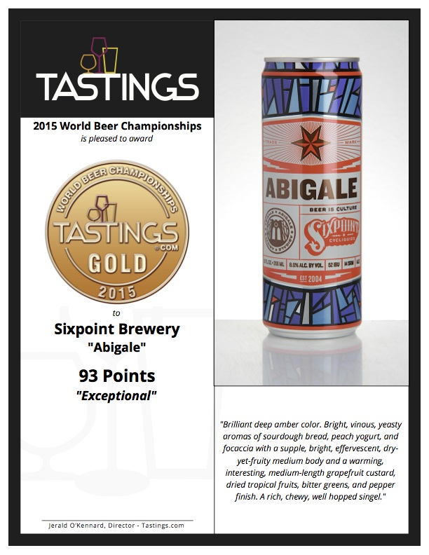 Award Certificate for Sixpoint Brewery